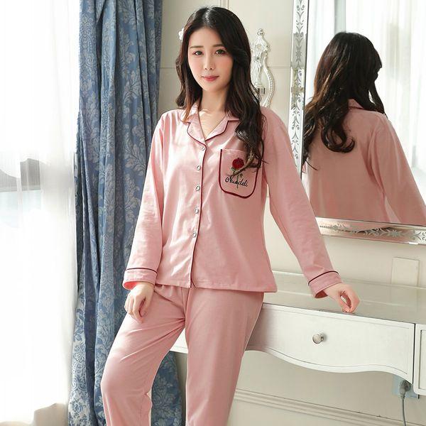 Women Sleepwear Loose Plus Size Pyjamas Women Cotton Pajamas Sets Long Sleeve Casual Female 2 Pcs Suit Soft Home Wear