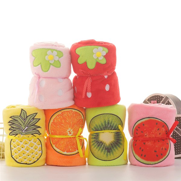 top popular Soft Pineapple Roll Blanket Cute Plush Flannel Fruit Pattern Blankets 80*100CM Home Siesta Children Nursing Shower Wrap TTA1735 2019