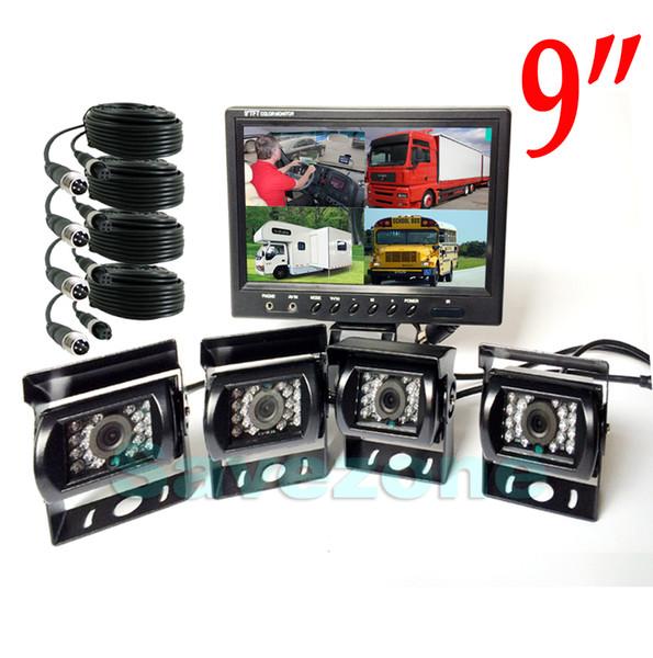 4x Telecamera di retromarcia CCD da 18 LED IR Night CCD + Monitor LCD da 4 pollici LCD 4CH per kit di retrovisione per camion 12V / 24V (gratuito 10m / 20m E