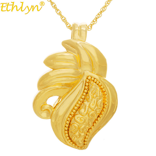 Ethlyn Jewelry Yellow Gold Color Fashion Hollow Big Size Nigerian Women Slide Pendant Best Holiday Gifts Big Locket 45cm P111 J190711