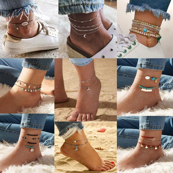 anklet collection popular new hand-made pendant layered anklet womens jewelry wholesale