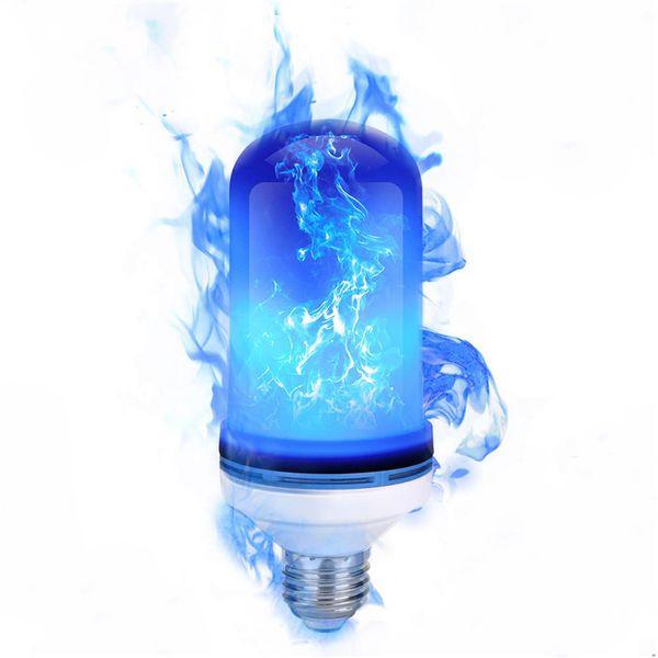 E27 LED Chama Efeito Fogo luz bruxuleante Emulação Luz 3 Modos de LED azul Chama lâmpada para decoração de Natal Halloween