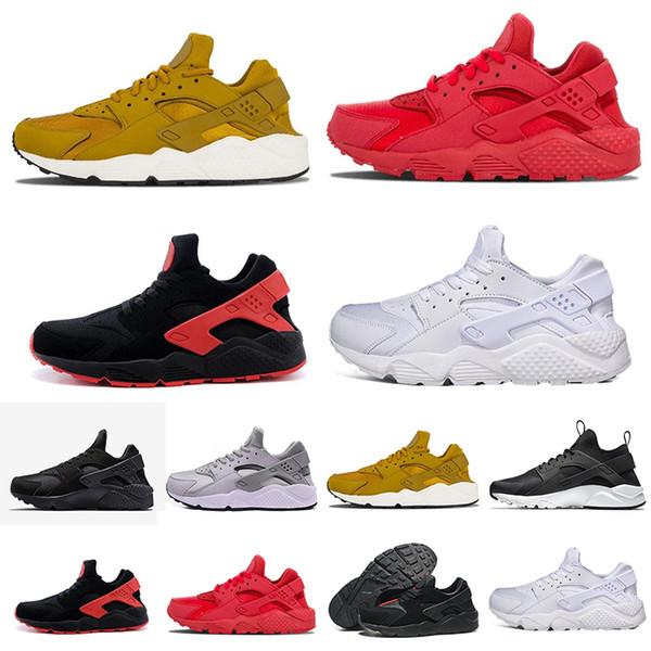 Высокое качество классический Huarache кроссовки для мужчин женщин черное золото тройные кроссовки Huarach 1 спортивные тренеры huraches спортивная обувь