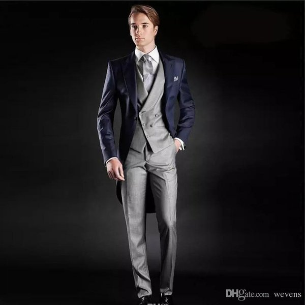 Slim Fit Morning Style Groom Tuxedos Peak Lapel Men's Suit Navy Blue Jacket Sliver Vest and Trouser (Jacket+Pants+Vest)