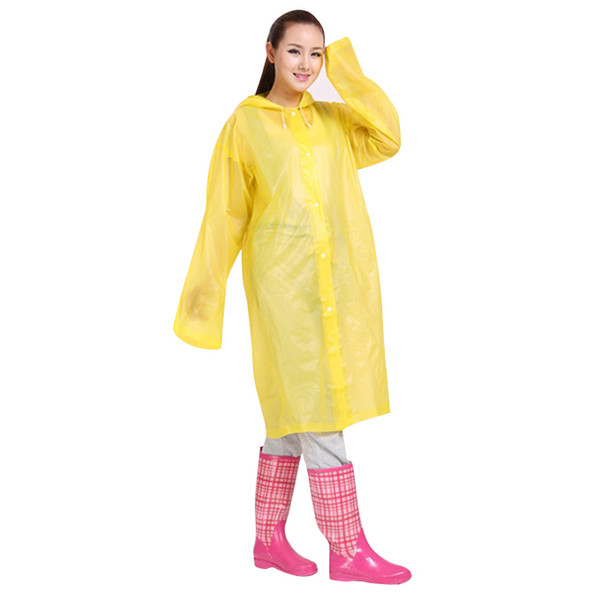 Fashion Men And Women Eva Transparent Raincoat Portable Outdoor Travel Raincoat Waterproof Camping Hooded Poncho