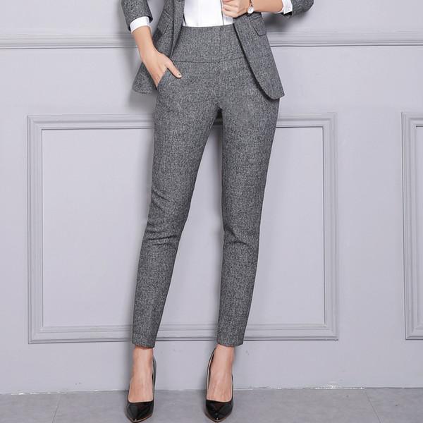 Escritório Mulheres Calças De Trabalho Casual Cintura Alta Calças Formais Moda Senhora Perna Lápis Calças Coreano Feminino Roupas 2019 Xxl SH190709
