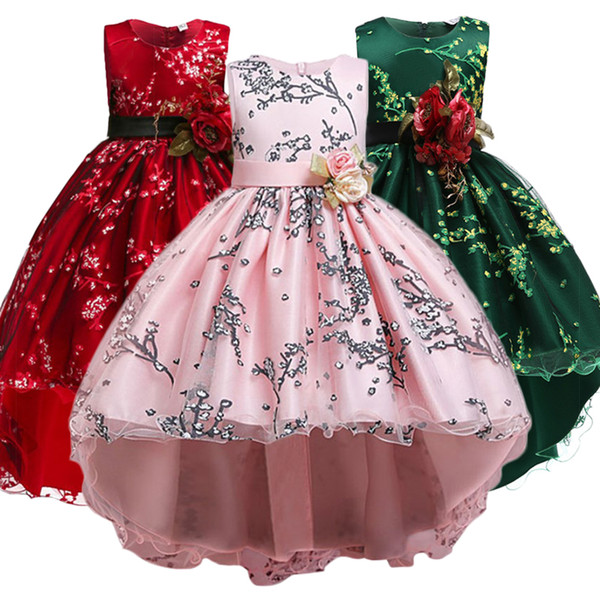 Meninas Vestidos de Natal das crianças Vestidos Partido Meninas traje dos miúdos Vestuário para meninas Princesa Roupa Flor GirlsWedding Vestido