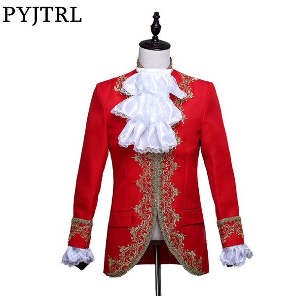 Pyjtrl Men Classic Palace Blazer Masculino Red White Black Embroidery Stage Singer Wedding Suit Jacket With Flower Collar Sleeve Y190420