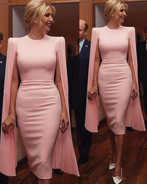 vestidos de noche modestos con vaina rosa Vestidos de fiesta con cuello de joya Vestidos formales de cóctel con mangas largas de gasa suave por encargo albornoces de bal 1047