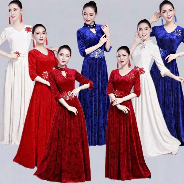 Chorus Chorus Roupa mulher de idade moderna Student quinquagenário Longuette Coreia do Sul de Down Palco Sirva