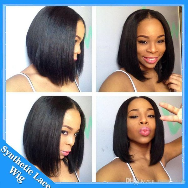 Short Bob Wigs Synthetic Lace Front Wig Short