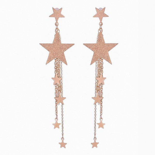 2019 new fashion Long bijoux earrings for women pendientes personality temperament five-pointed star tassel simple hot selling