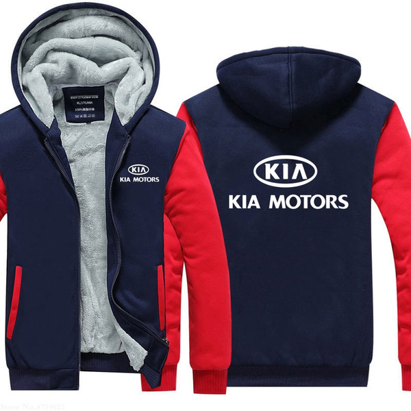 for men Winter Casual KIA Motors Sweatshirt Thickening Plus Velvet Warm coat new arrived male jackets tops