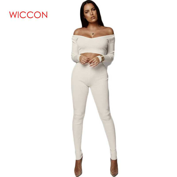 2019 Sexy Suits Women Fashion Two Piece Set Knitted Ribbed Slash Neck Crop Tops Elastic Slim Long Pencil Pants Female Vestido