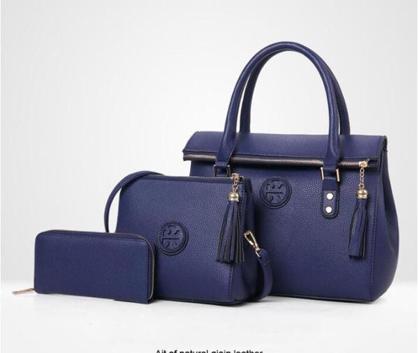 Hot Lady Hand bag New Luxury PU Leather Tassel Handbag 3 Pcs Composite Bags Set Lady Shoulder Crossbody Women Bag Female Wallet Clutch