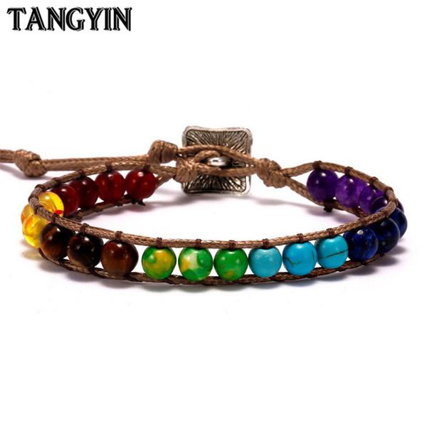 Tangyin 1PC Bunte Naturstein-Korn-Seil-Kettenarmband Sieben Chakras Armband für Frauen Männer Exquisite Handgemachter Schmuck