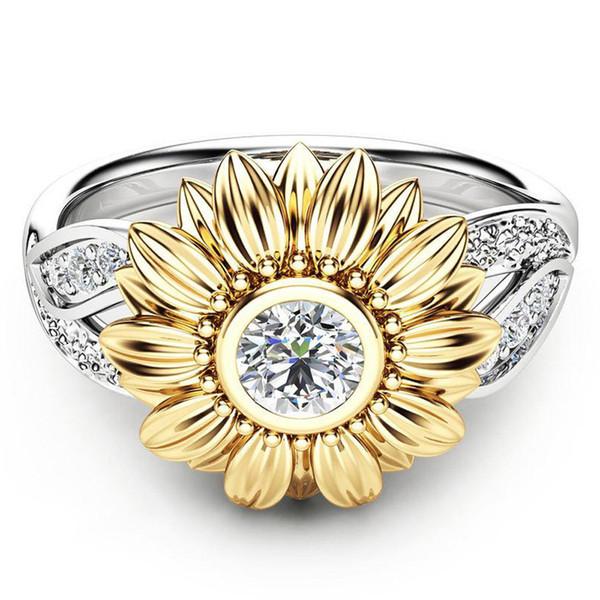 Requintado das Mulheres de Dois Tons de Prata Anel Floral Rodada Girassol De Ouro Jewely anéis para as mulheres anillos mujer harajuku # 31435