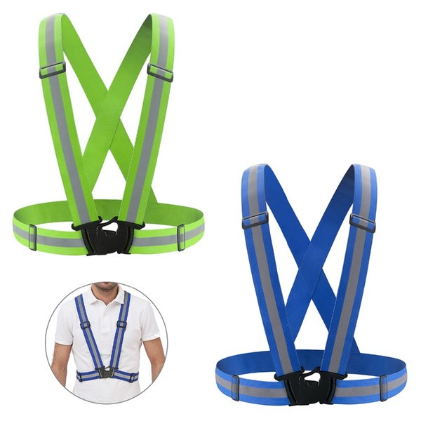 SKL Adjustable Reflective Running Gear Safety Vest Waist Belt Stripes Jacket High Visibility for Outdoor Jogging Cycling Walking