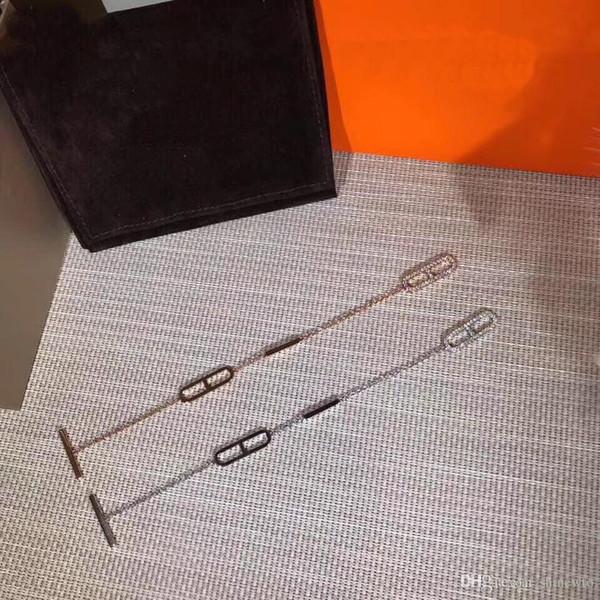 Moda yeni gelmesi bayan 925 gümüş 18k kaplama altın zincir bilezik elmas kolye
