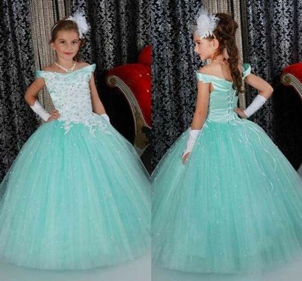 Compre Vestidos Bonitos Para Niñas De Flores Con Pliegues Fruncidos Azul Hielo Puffy Vestidos De Niña Para Los Vestidos De Fiesta De Bodas Más