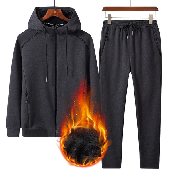 2019 Fashion Autumn Winter Men Sporting Suit Hooded Jacket+Pants Sweat Suit Fleece Thick Tracksuits For Male Clothing