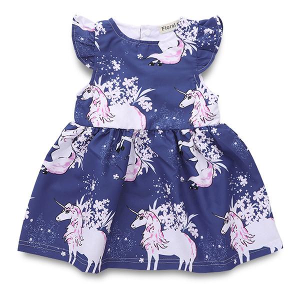 baby designer cloths 2019 new Baby girls unicorn print dress children Flying sleeves princess dresses summer kids Clothing