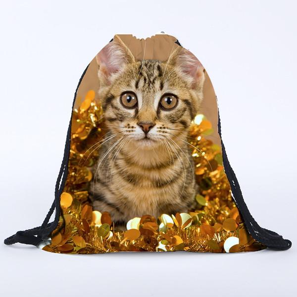 39x30 cm Harajuku lindo paño bolsas de lazo de lona amarillo gato Kawaii bolsas de almacenamiento mochila 3d impreso para mujer bolsa de regalo