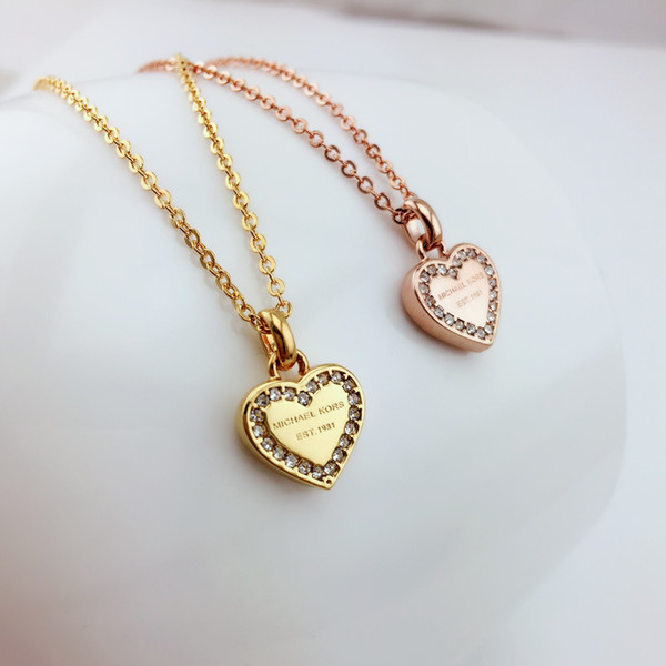 HOT SALE!3 Color Heart Shape Letter Rhinestone Necklace Gold, Silver, Rose Gold Color Chain high quality for Women Lady Girl Lady Jewelry