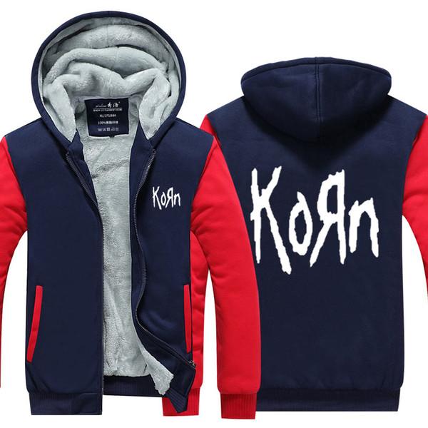 US EU Size Korn Band Hoodie Sweatshirt Men's Fleece Winter Thicken Zipper Hoodies Jacket Jacket super warm Sweatshirt