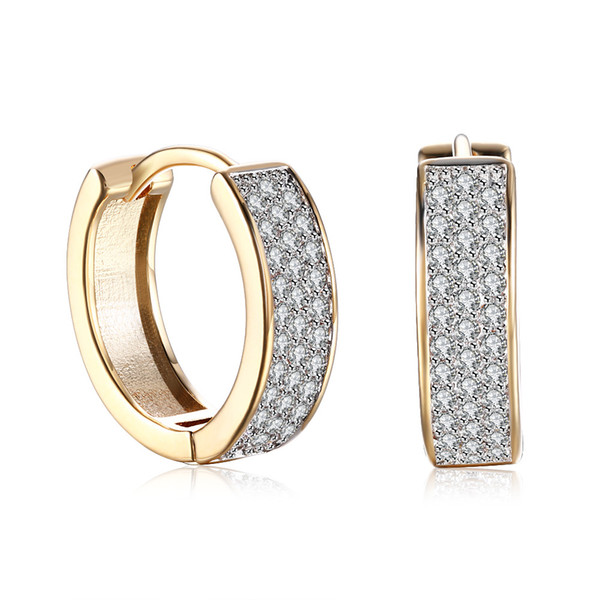 Romantic Jewelry Earrings Gold Plated Single Row Mosaic Zircon Clip-On And Screw Back Earring Accessories Valentine's Day Gifts POTALA135