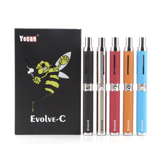 100% Original Yocan Evolve-C Vape Pen Starter Kit Dab Pen Wax Vaporizer 650Mah E Cigarette Battery with Quartz Coil Empty Vape Cartridges