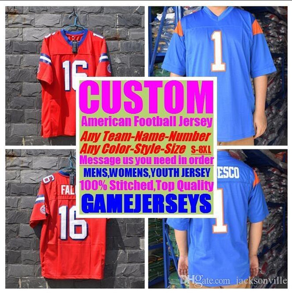 Custom college american football jerseys mens womens youth kids soccer rugby stitched authentic jersey 4xl 5xl 6xl 7xl Outdoor wear sew