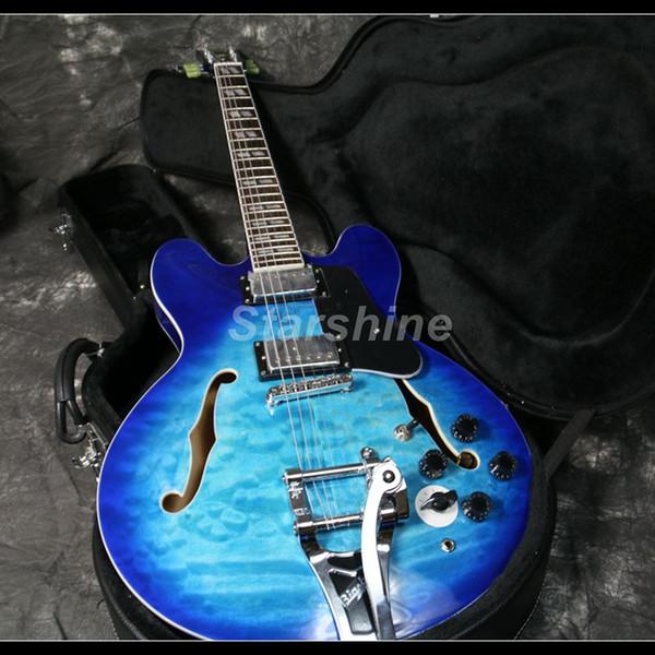 Nova Tradição Semi Corpo Oco E-345 Guitarra Elétrica 6 Posição Sweat Grover Tuner Top Acolchoado Maple