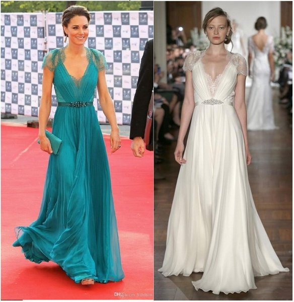 New Kate Middleton in Jenny Packham Sheer with cap Sleeves Evening Gowns Formal Celebrity Carpet Dresses Lace Chiffon Evening Dresses