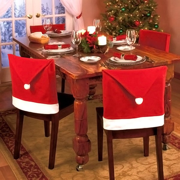 6pcs Christmas Chair Cover Santa Claus Hat Christmas Table Decoration Party Decor Xmas Cap Gift Decorations For Home