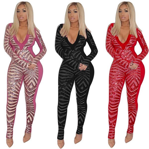 2018 Latest Sequins Patchwork Bandage Jumpsuit Women Sexy Deep V Neck Long Sleeve Romper Night Club Party Overalls Female Outfits