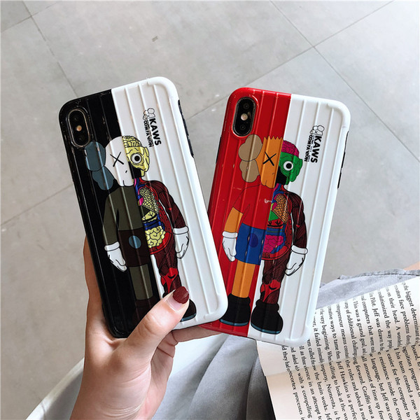 Fashion Suitcase Luggage KAWS dolls phone case for iphone 6 7 8 plus X XR XS MAX Popular Super cute Travel Bag Handbag Anti knock Cover