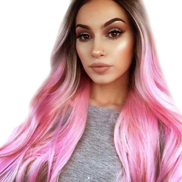 Moda sintética pelucas onduladas largas Gradiente de teñido Cabello natural Pelucas llenas para las mujeres negras / blancas Sin cola Peinados Cosplay ondulados