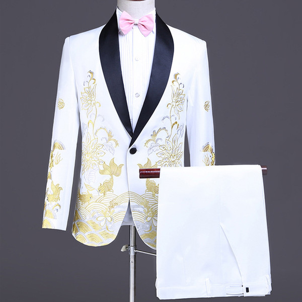 Slim Fit Embroidered Wedding Tuxedos White Groom Shawl Lapel 2 Pieces Pants Suits Luxury Design Men Jacket Formal Blazer