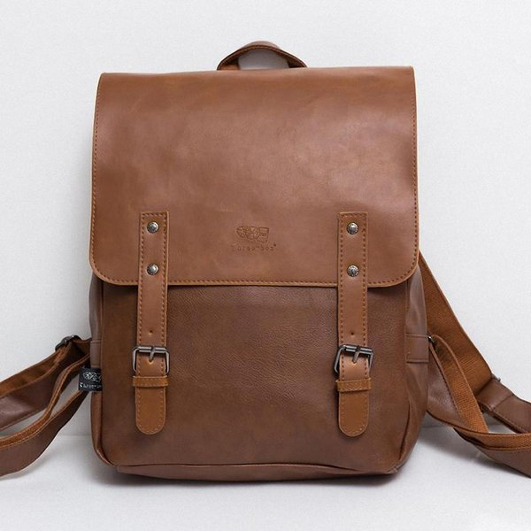 Wholesale- High Quality England Vintage Style PU Leather Men Backpacks For College Preppy Style School Backpacks for 14 inch laptop bags