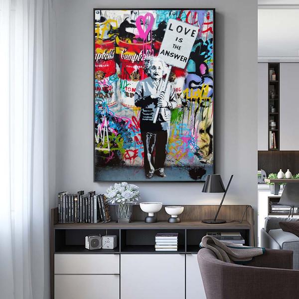 O amor é a resposta Pinturas Art Wall Street Graffiti lona Abstract Einstein Pop Art lona para a sala dos miúdos Cuadros Decor