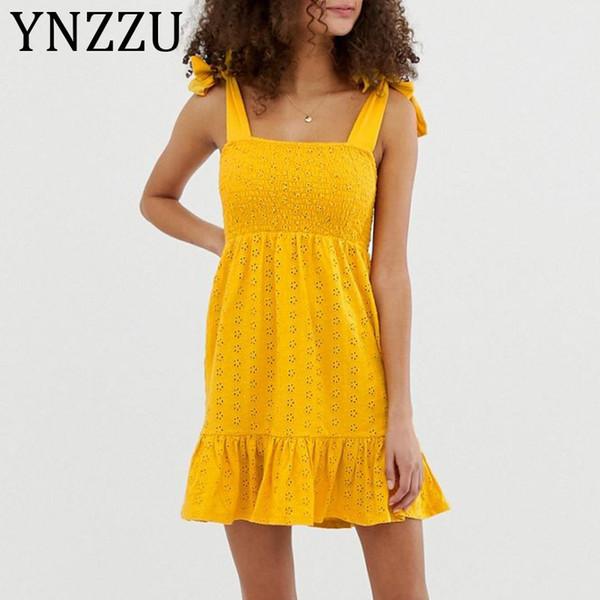 YNZZU Giallo ricamo cotone abito corto donna 2019 estate cinturino elastico tubo vuoto elegante ruffles mini dress vestidos AD257