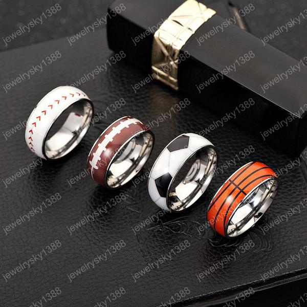 Nuevo fútbol baloncesto deportes anillos para mujeres hombres béisbol softbol rugby acero inoxidable anillos de dedo joyería de moda regalo