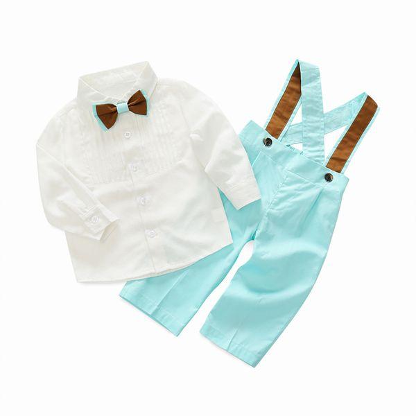 Juego de ropa para niños pequeños Ropa formal Bebé Camisa de manga larga con pajarita + Pantalones azul / verde Ropa de fiesta para niños Y190518