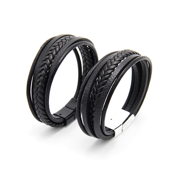 Classic Genuine Leather Bracelet For Mens vintage Multilayer Magnet Handmade Hand Charm Magnetic clasp Wristband Cool Boys Jewelry Bulk