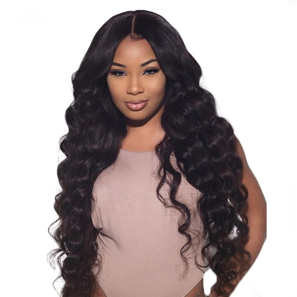 Human Hair Lace Wig Loose Wave Full Lace Wig Pre-plucked Hairline Curly Brazilian Virgin Hair 150% Density Lace Front Wig Glueless