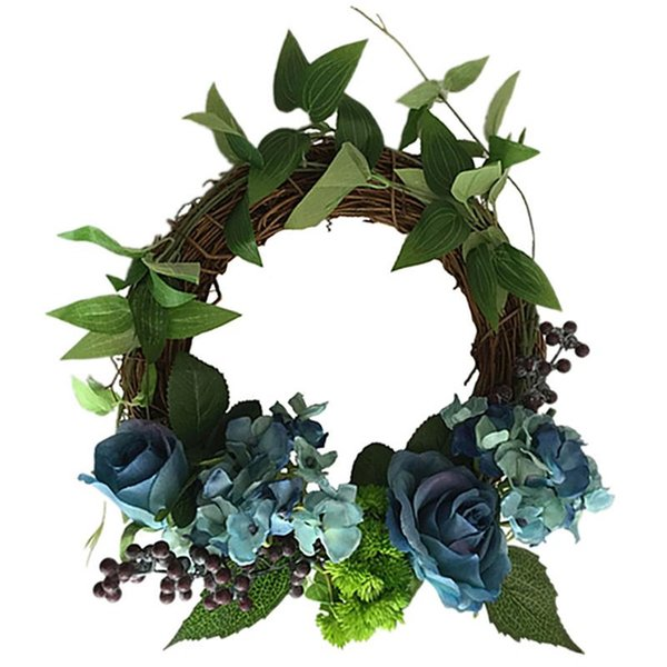 Romantic Lifelike Rose Artificial Wreath European-Style Simulation Rose Garland Wedding Wreath Festival Ornaments Shooting Props