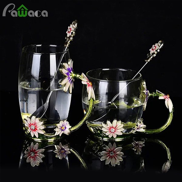 Daisy Crystal Glass Enamel Flower Tea Cup Coffee Mug Water Cup Heat Resistant Drinkware with Spoon Home Decration Birthday Gift