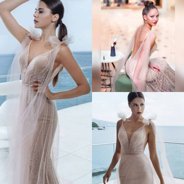 2019 Sexy Illusion Sparkly Prom Dresses With Wraps Mermaid Sheer V Neck Party Gowns Evening Celebrity Dresses