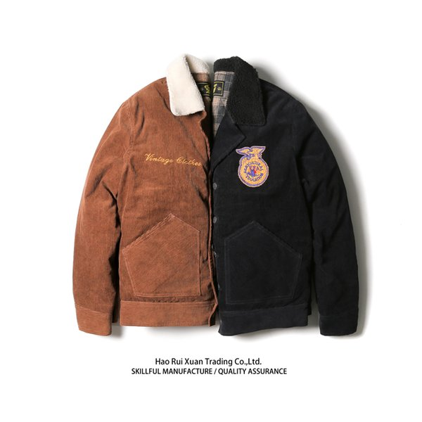 Thick Cotton Suit with Sauce Ffa Jacket Corduroy Jacket Embroidered Lamb Hair Vintage Winter Coat Men Mens Winter Coats